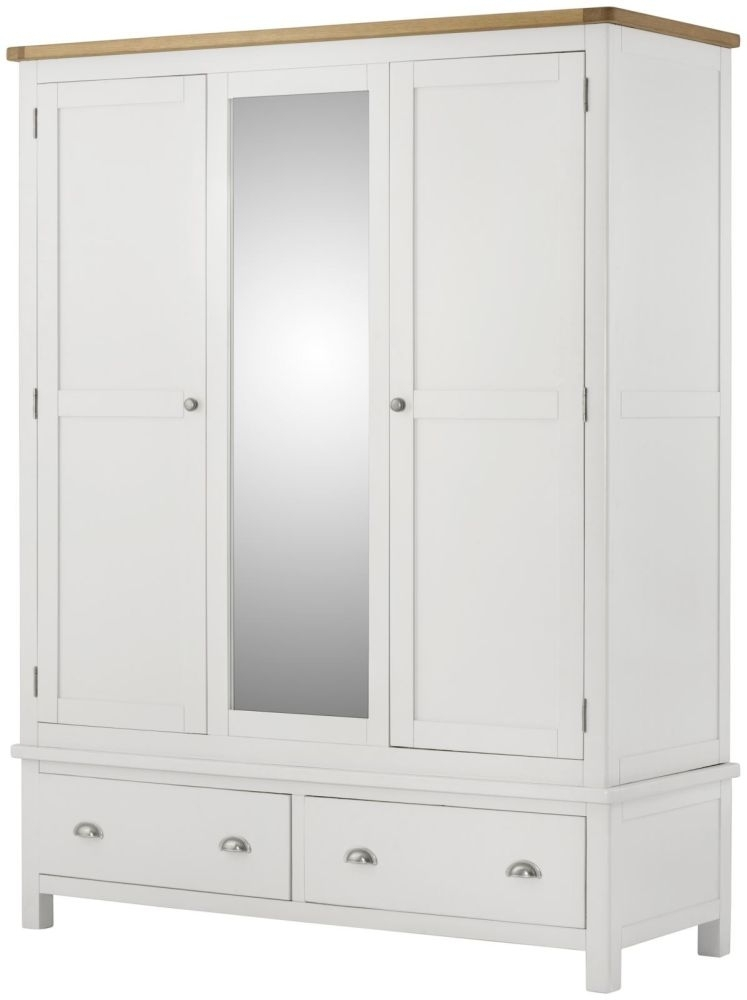 Portland White Painted 3 Door 2 Drawer Triple Wardrobe