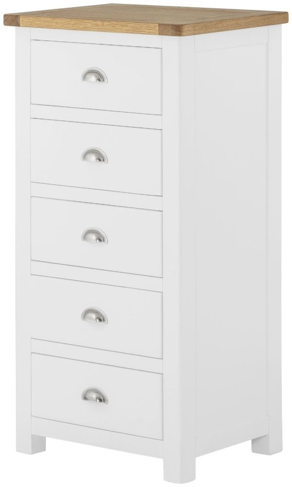 Portland White Painted Wellington Chest of Drawer - 5 Drawer