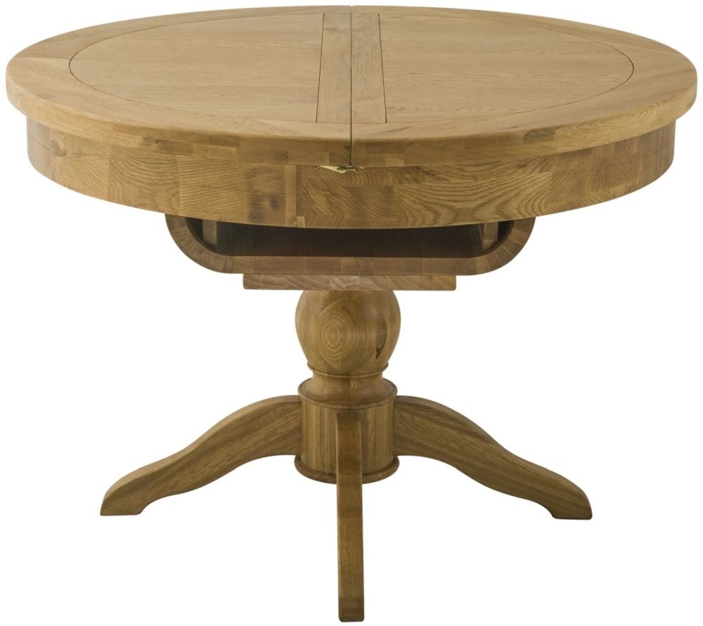 Portland Oak Grand Round Butterfly 110cm-140cm Extending Dining Table
