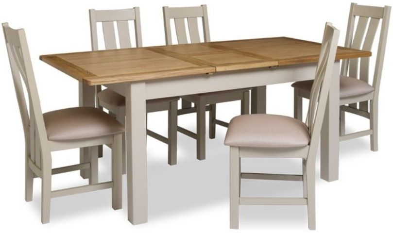 Portland Extending Dining Table and 6 Chairs - Oak and Stone Grey Painted