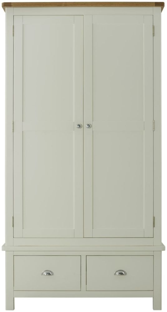 Portland 2 Door 2 Drawer Gents Wardrobe - Oak and Stone Grey Painted