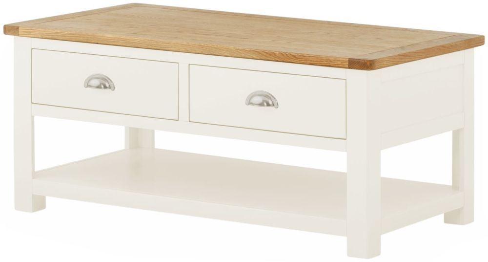 Portland White Painted 2 Drawer Storage Coffee Table