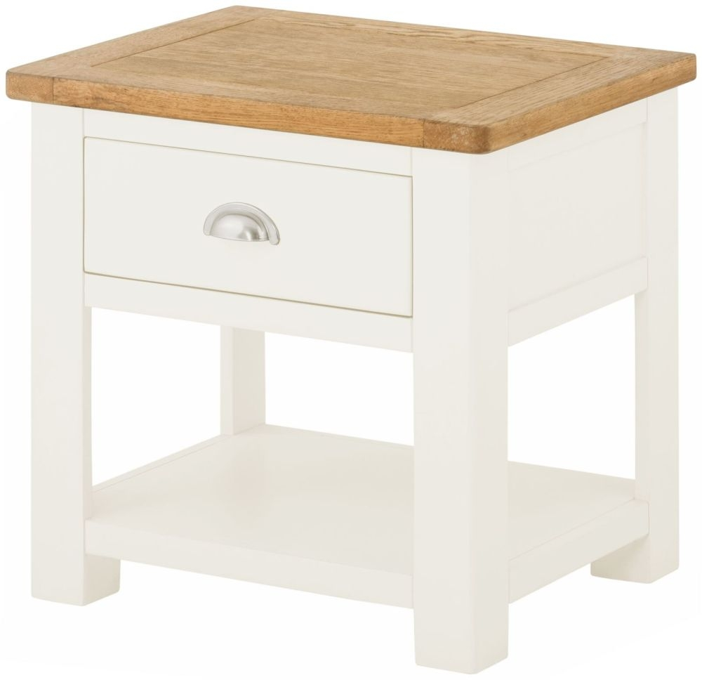 Portland White Painted 1 Drawer Lamp Table