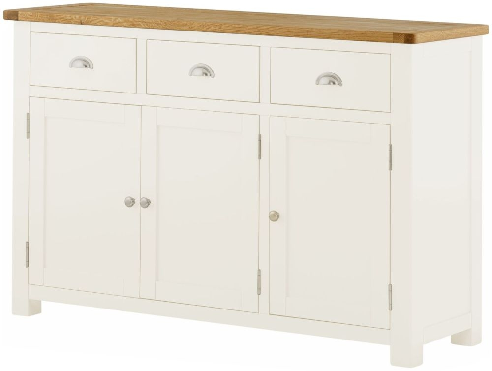 Portland Medium Sideboard - Oak and White Painted