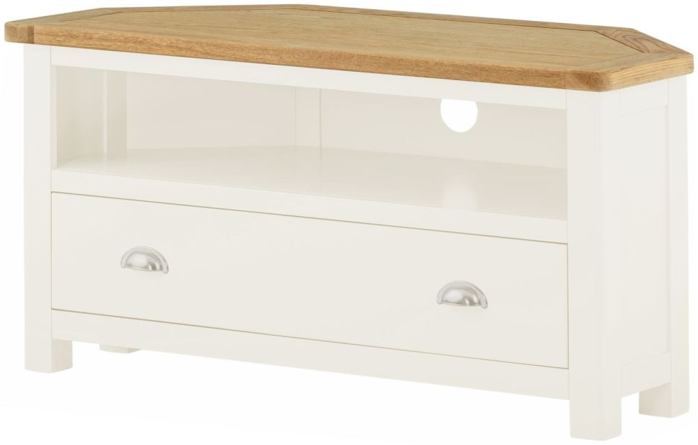 Portland White Painted Corner TV Cabinet - 1 Drawer
