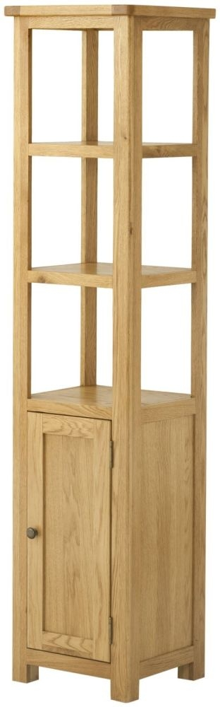 Portland Oak 1 Door 2 Shelves Narrow Cupboard