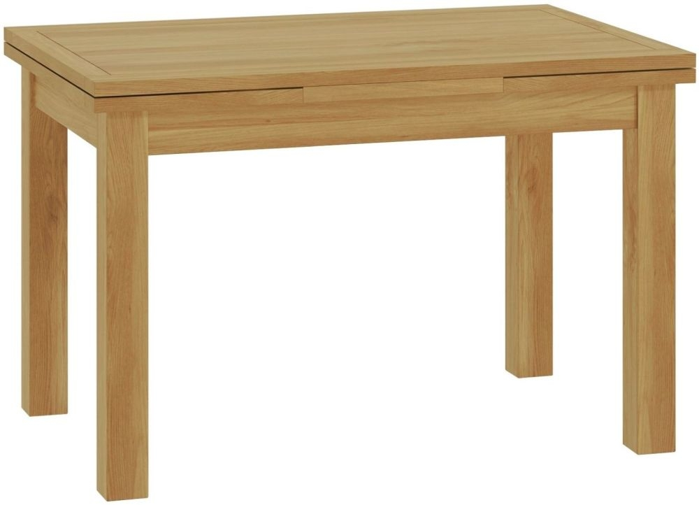 Portland Oak Rectangular Drop Leaf Dining Table - 120cm-200cm