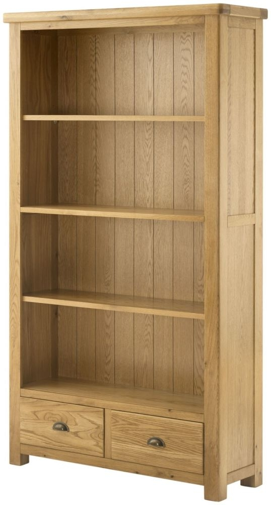 Portland Oak Grand Bookcase - 2 Drawer Wide