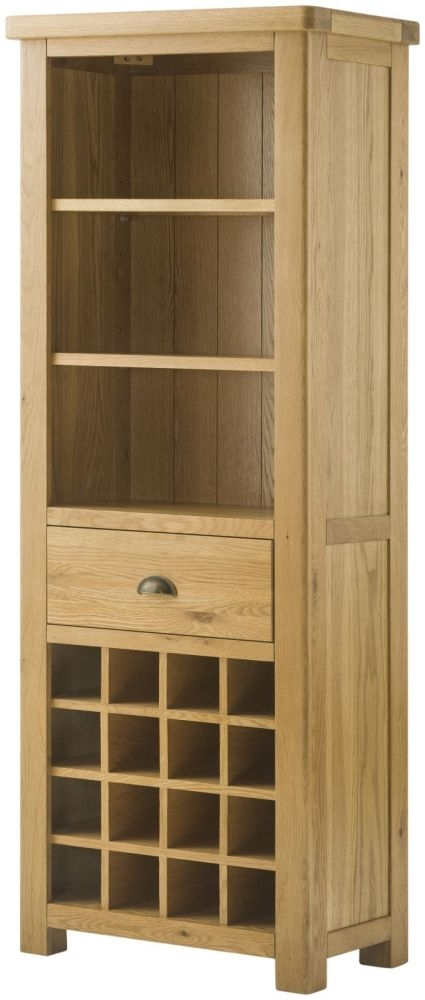 Portland Oak Grand Bookcase with Wine Holders - 1 Drawer
