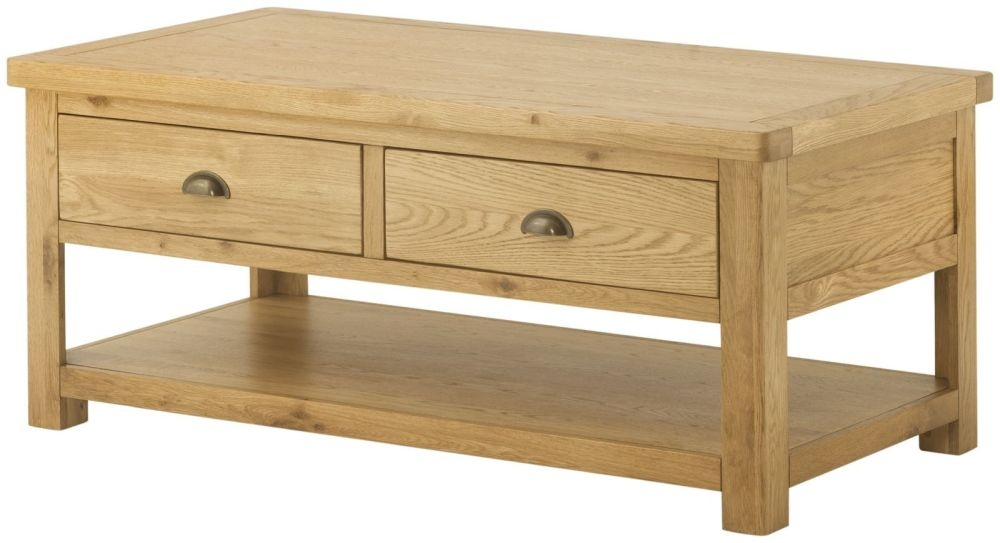 Portland Oak Grand 2 Drawer Storage Coffee Table