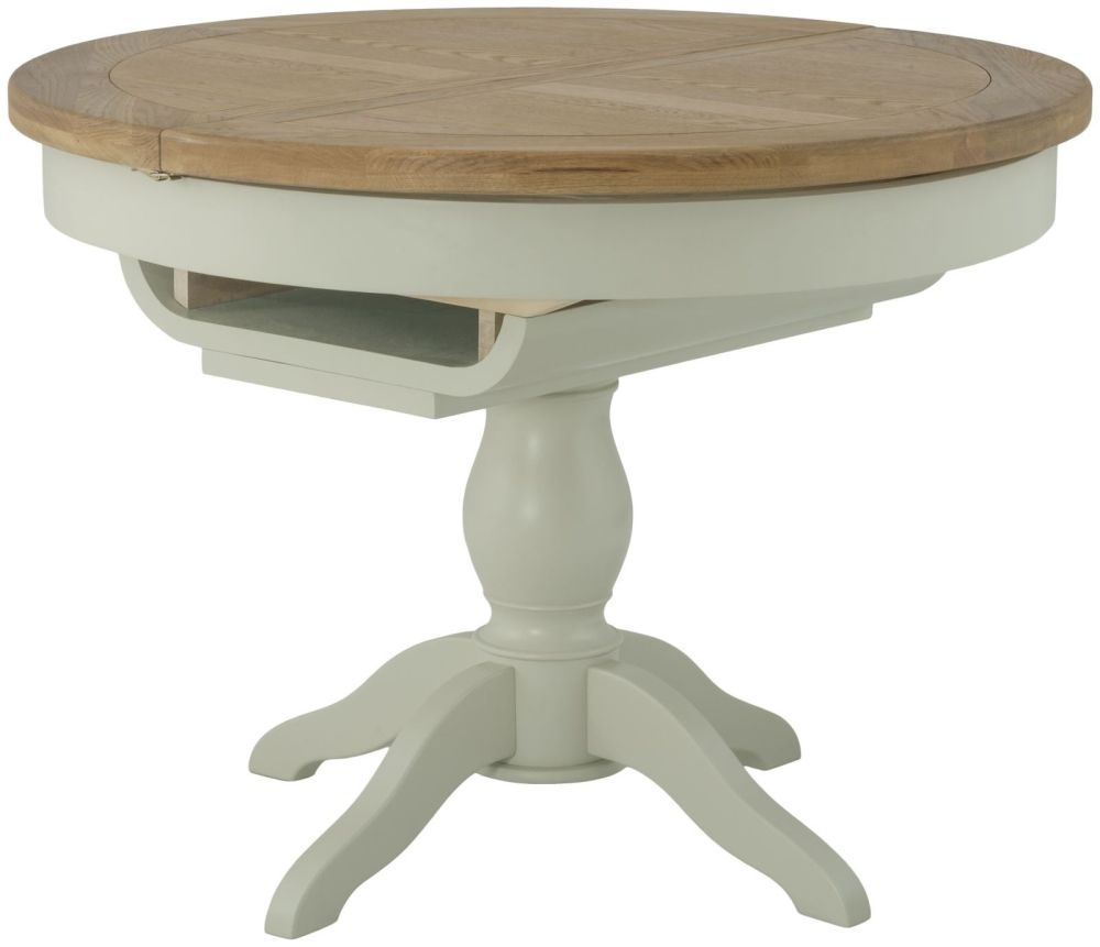 Portland Oak Grand Round Butterfly Extending Dining Table - 100cm-145cm