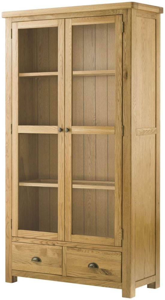 Portland Oak Grand Glazed Display Cabinet - 2 Door 2 Drawer Large