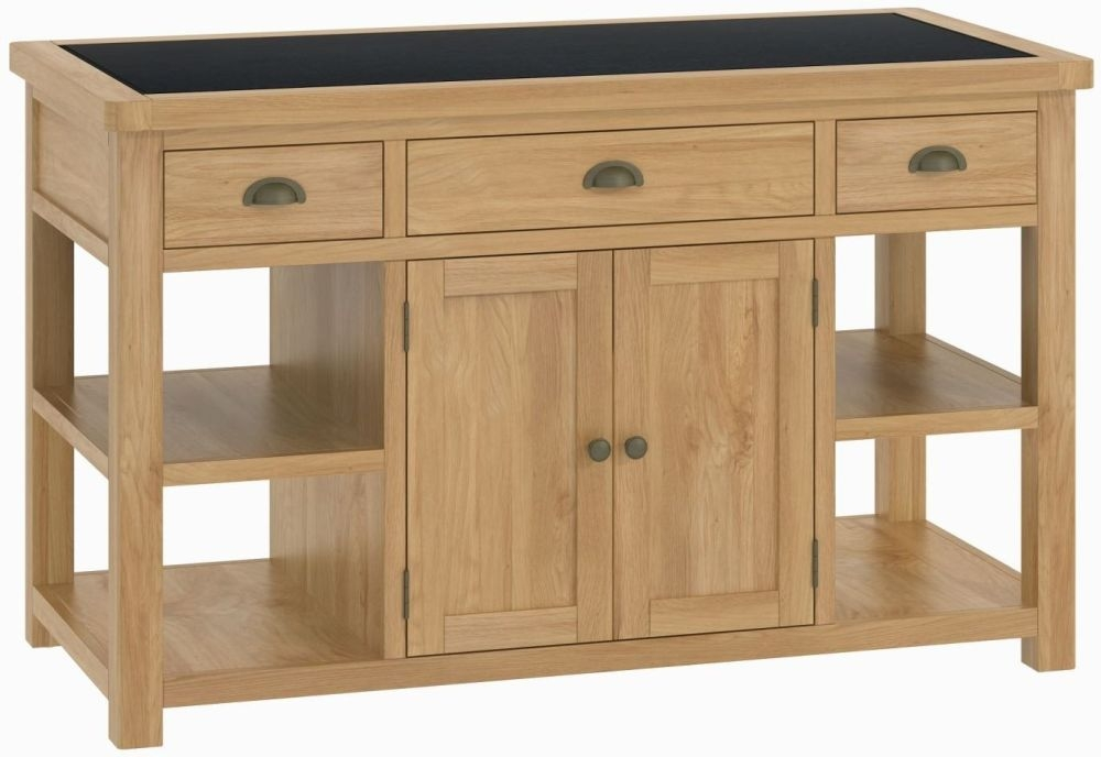 Portland Oak Kitchen Island Unit - 2 Door 3 Drawer Large