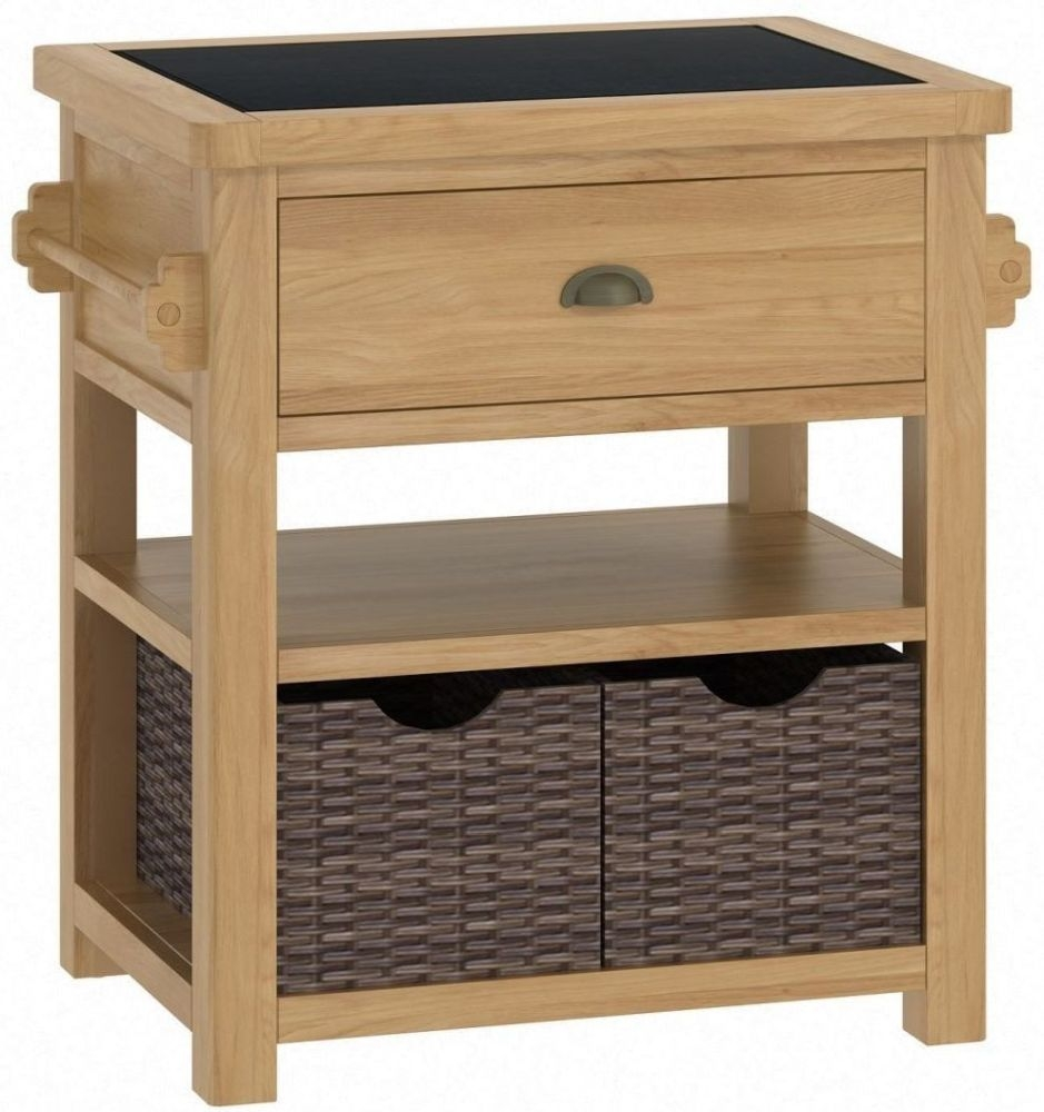 Portland Oak Small Kitchen Island Unit