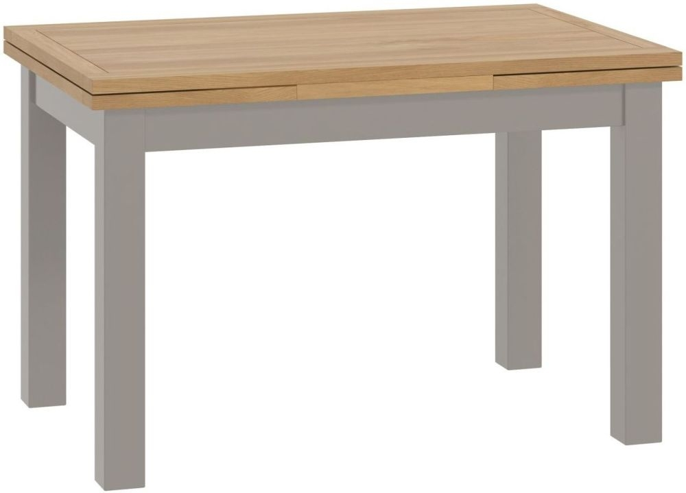 Portland Drop Leaf Dining Table - Oak and Stone Grey Painted