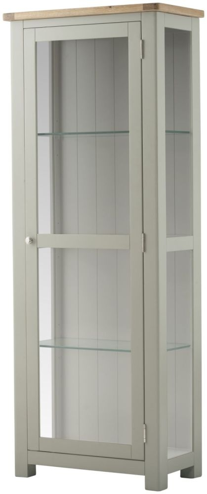 Portland Glazed Display Cabinet - Oak and Stone Grey Painted