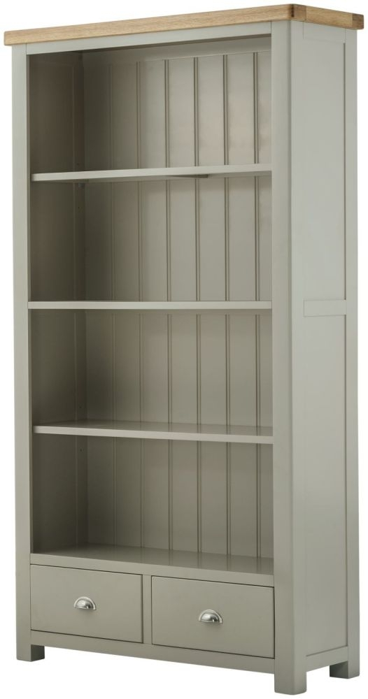 Portland Stone Grand Painted 2 Drawer Wide Bookcase