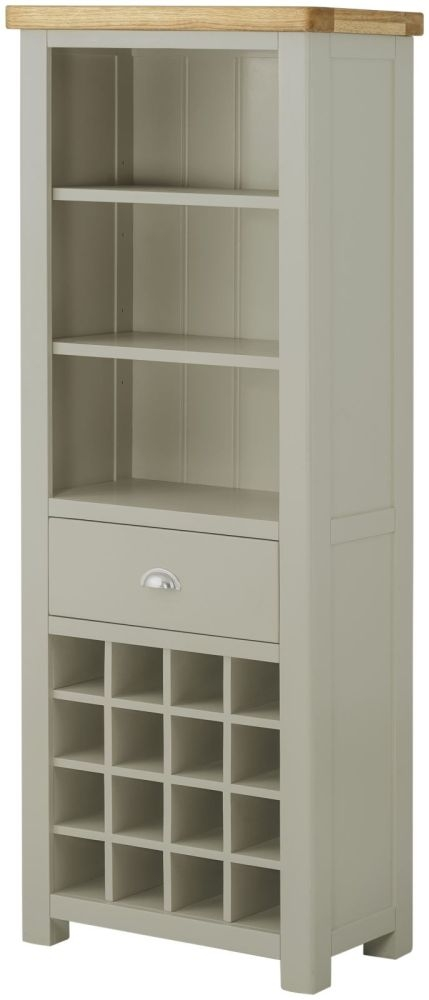 Portland Grand Bookcase with Wine Holders - Oak and Stone Grey Painted