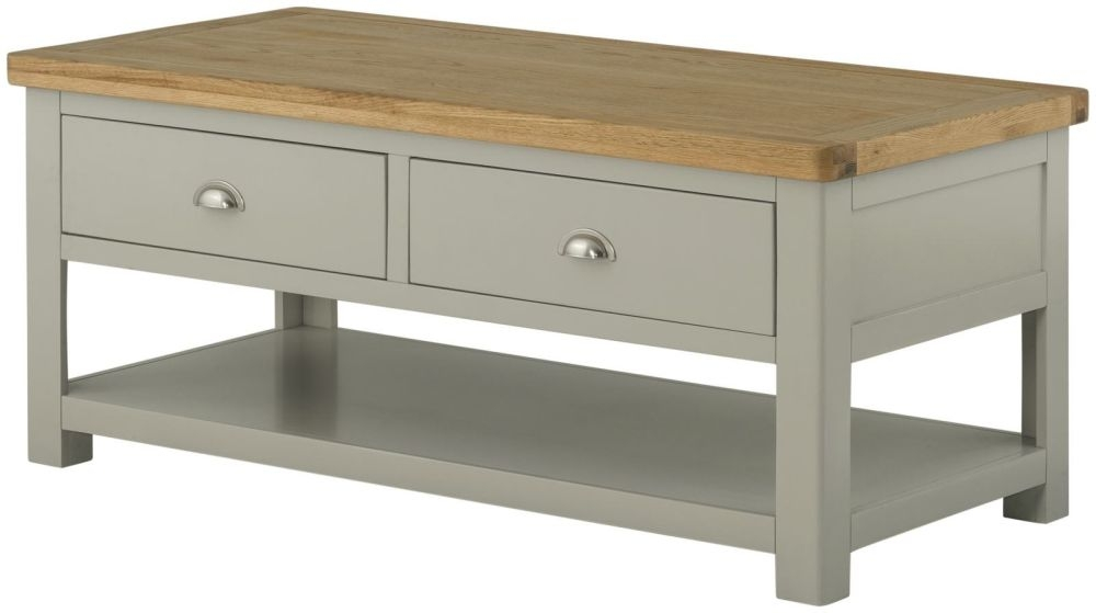 Portland Stone Grand Painted Storage Coffee Table - 2 Drawer
