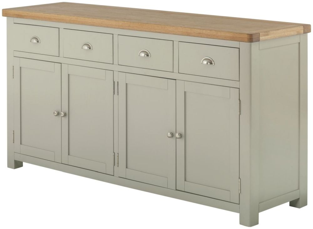 Portland Stone Grand Painted 4 Door 4 Drawer Wide Sideboard