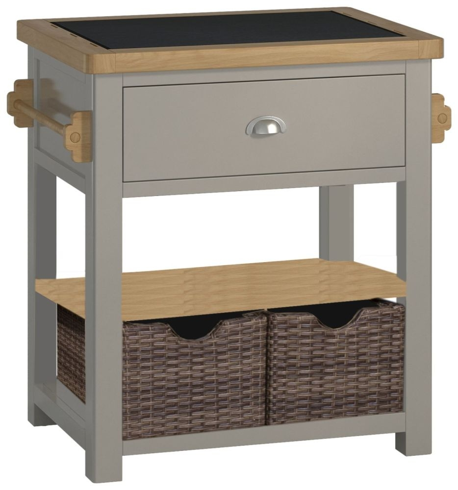 Portland Small Kitchen Island Unit - Oak and Stone Grey Painted