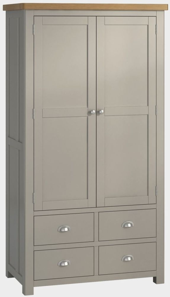 Portland Stone Painted Kitchen Larder Unit - 2 Door 5 Drawer Large