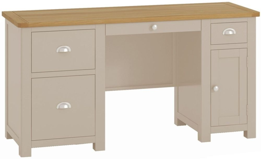 Portland Stone Painted Office Desk - 1 Door 3 Drawer Double Pedestal