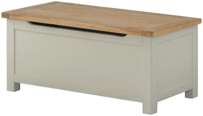 Portland Oak and Stone Painted Blanket Box