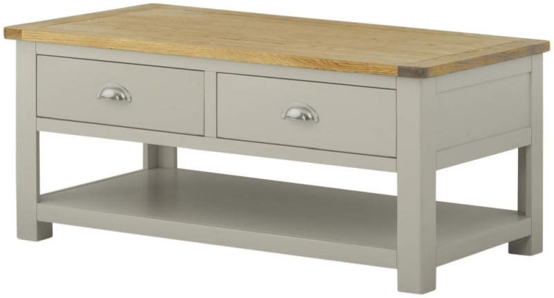 Portland Stone Painted 2 Drawer Coffee Table