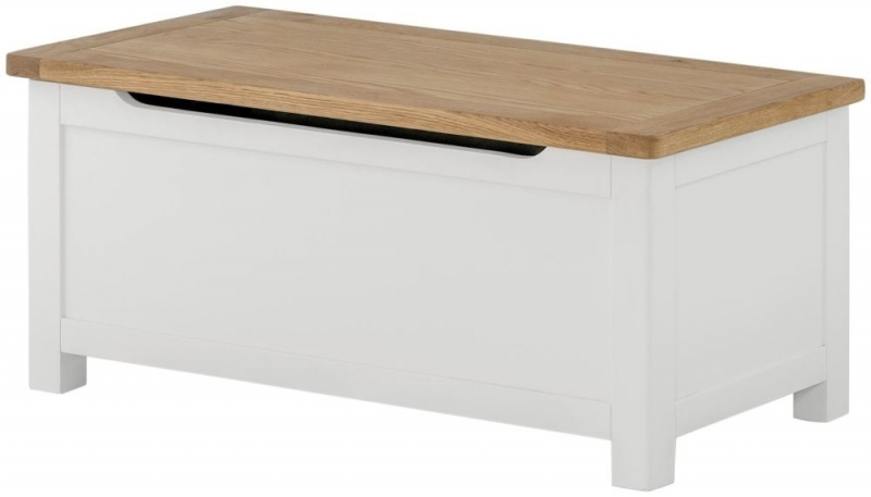 Portland Blanket Box - Oak and White Painted