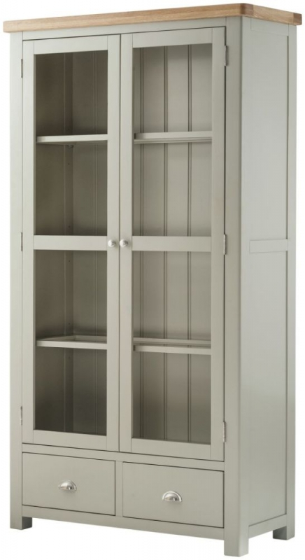 Portland Grand Large Glazed Display Cabinet - Oak and Stone Grey Painted