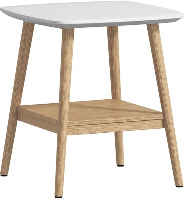 Portofino White and Oak Lamp Table