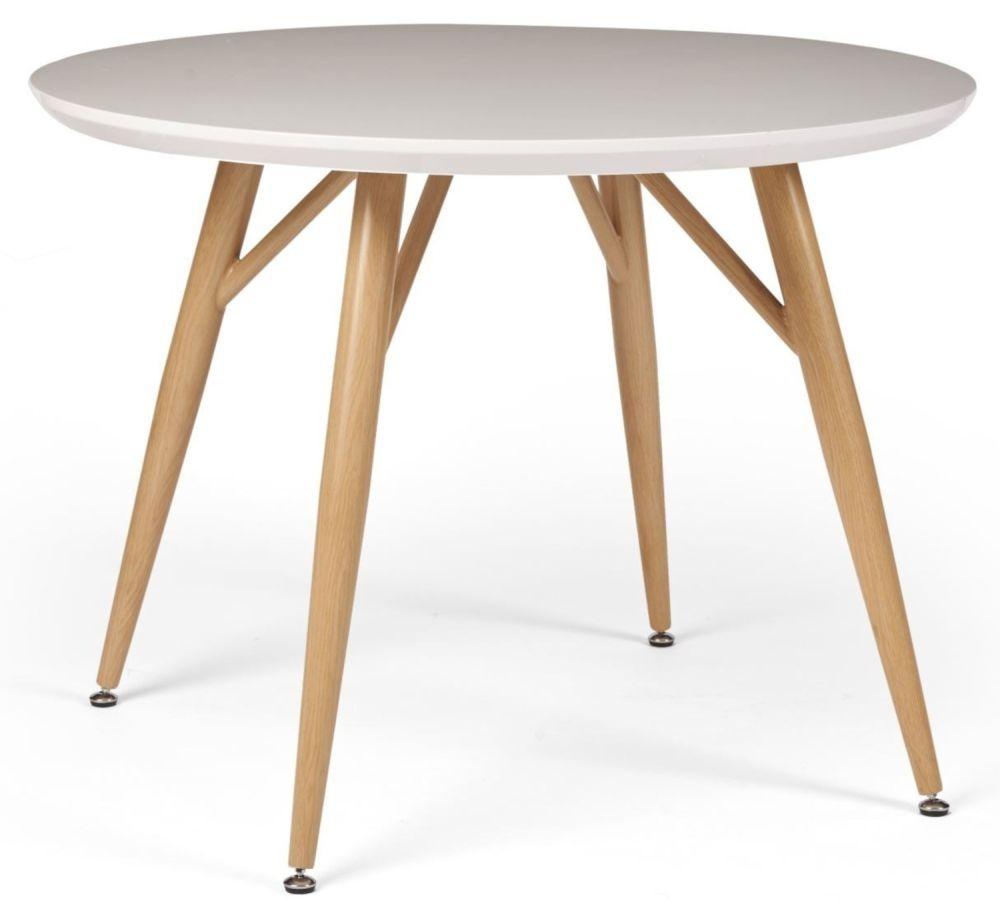 Portofino White and Oak Round Dining Table
