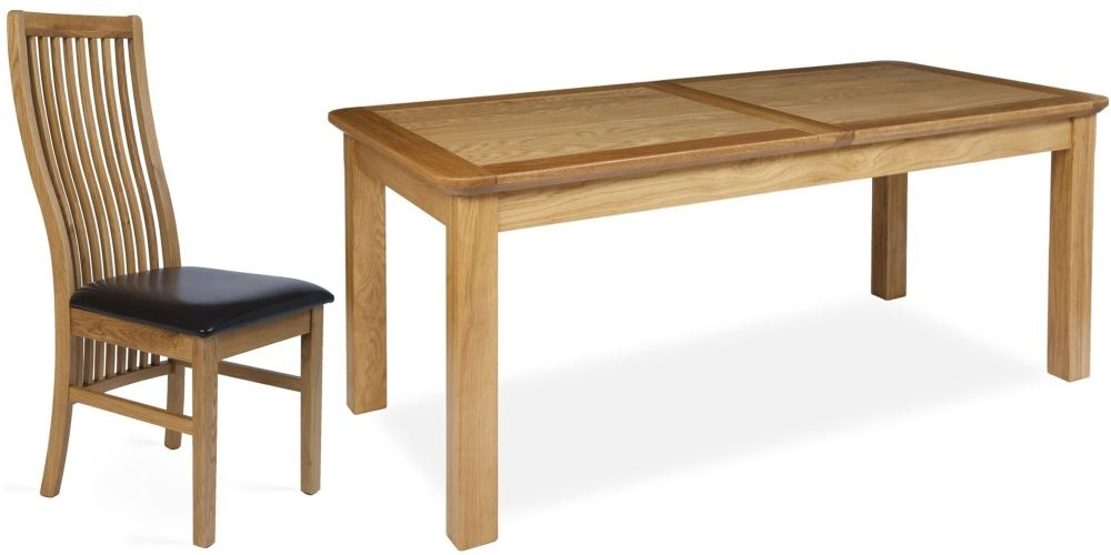 Provence Oak Dining Set - Large Extending with 6 Elle Dining Chairs
