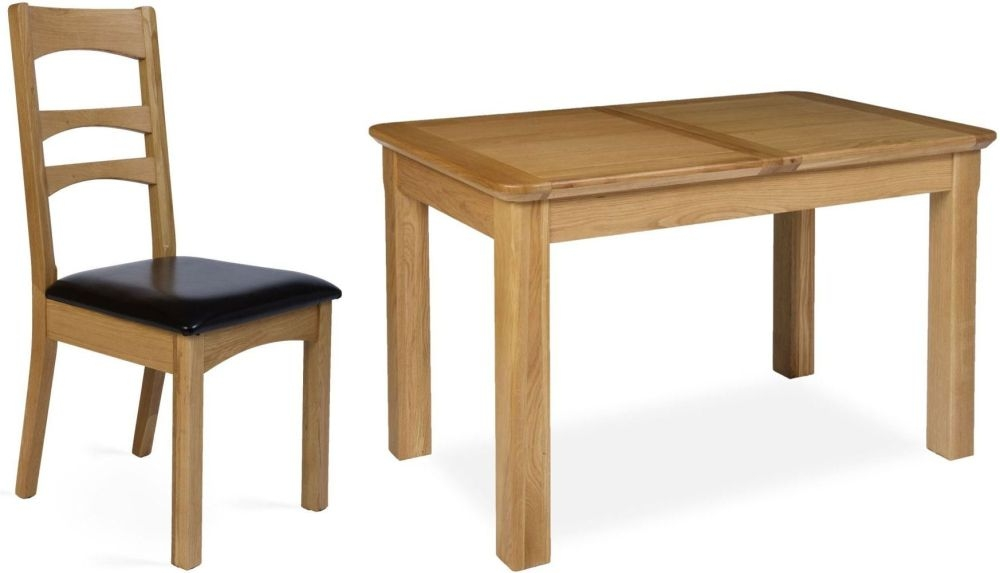 Provence Oak Dining Set - Small Extending with 4 Gina Dining Chairs