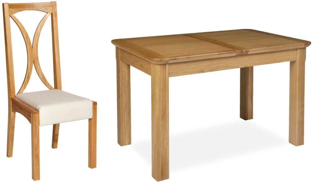 Provence Oak Dining Set - Small Extending with 4 Luna Fabric Dining Chairs