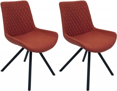 Sigma Burnt Orange Fabric Dining Chair (Pair)