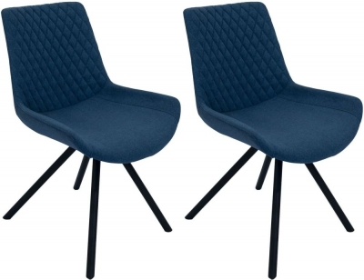 Sigma Mineral Blue Fabric Dining Chair (Pair)