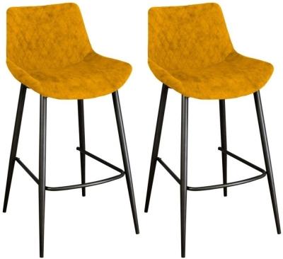 Sigma Saffron Fabric Bar Stool (Pair)