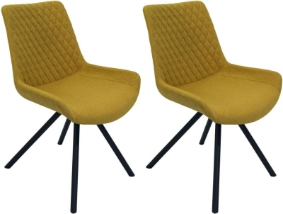 Sigma Saffron Fabric Dining Chair (Pair)