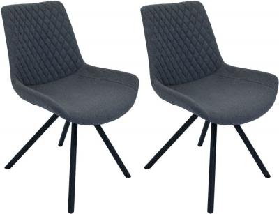 Sigma Shadow Grey Fabric Dining Chair (Pair)