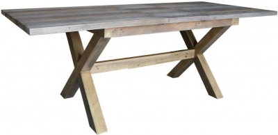 Sorrento Reclaimed Pine 220cm-260cm Cross Leg Extending Dining Table