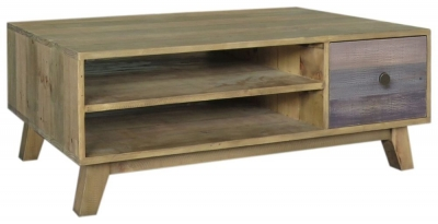 Sorrento Reclaimed Pine Coffee Table with Drawer
