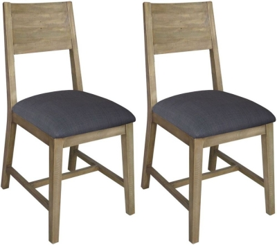 Sorrento Reclaimed Pine Dining Chair with Fabric Seat (Pair)