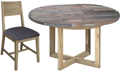 Sorrento Reclaimed Pine Set - Round Extending with 6 Fabric Seat Dining Chairs