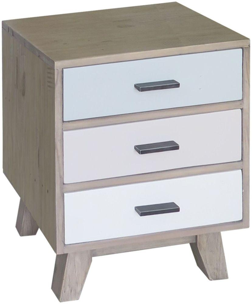 Sorrento Reclaimed Pine 3 Drawer Bedside Cabinet