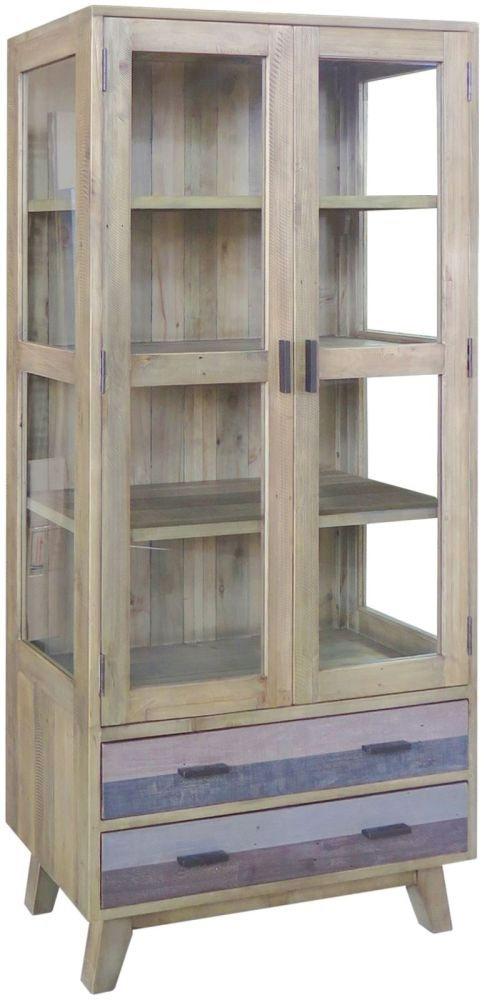 Sorrento Glazed Display Cabinet - Reclaimed Pine