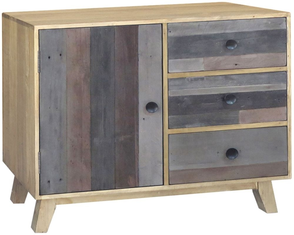 Sorrento Reclaimed Pine Sideboard - 1 Door 3 Drawer Narrow