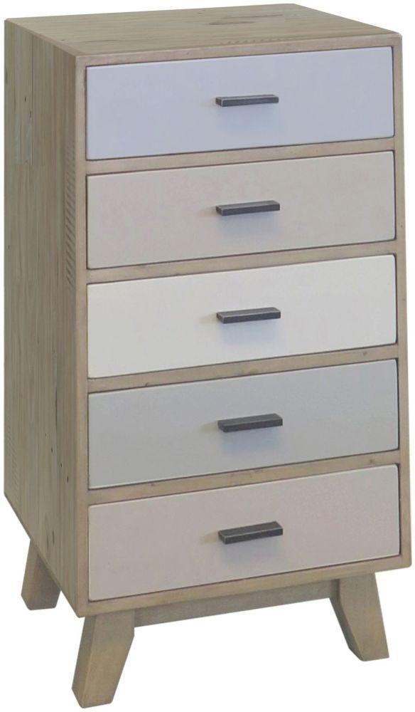 Sorrento Reclaimed Pine Tall Chest of Drawer - 5 Drawer