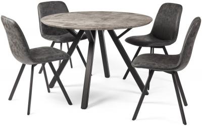 Tetro Concrete Effect 110cm Round Dining Set - 4 Chairs